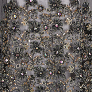 Hand Embroidered Fabric Design # 4147 - Black - Per Yard