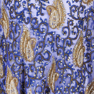 Hand Embroidered Fabric Design # 4108 - Royal Blue - Per Yard