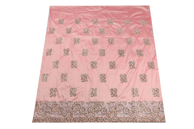 Hand Stoned George Wrapper Design # 6647 - Peach - With Blouse