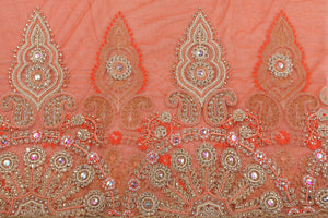 Hand Embroidered Blouse Design # 3342 - Burnt Orange - 1.75 Yards