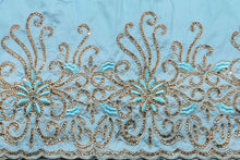 Load image into Gallery viewer, Hand Stoned George Wrapper Design # 6731 - Sky Blue - With Blouse