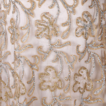 Load image into Gallery viewer, Hand Embroidered Fabric Design # 4052 - Champange Gold - Per Yard