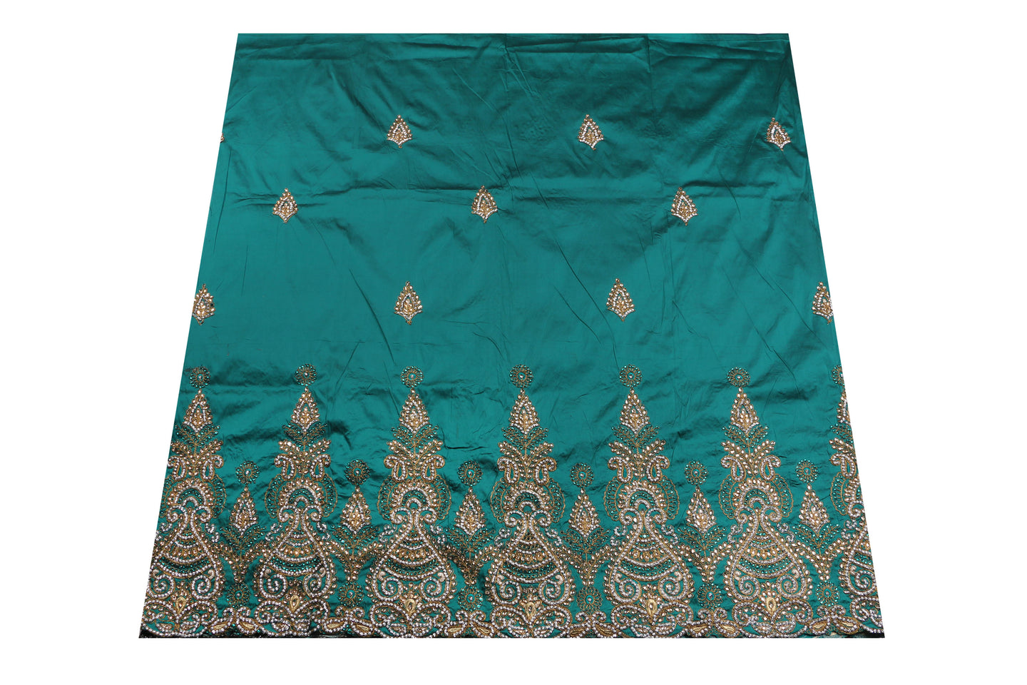 Hand Stoned George Wrapper Design # 6670 - Teal Green - With Blouse