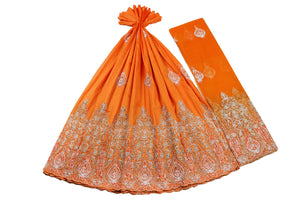 Hand Stoned George Wrapper Design # 6650 - Orange - With Blouse