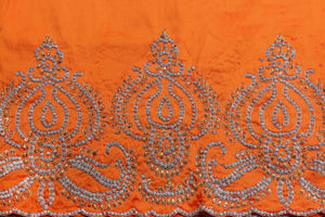 Hand Stoned George Wrapper Design # 6742 - Burnt Orange - With Blouse