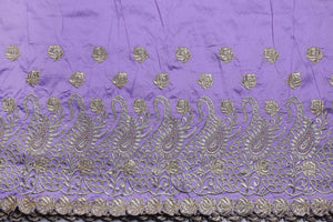 Machine Embroidered George Wrapper Design # 7399 - Lilac - With Blouse