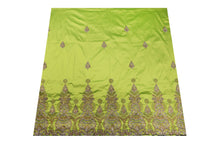 Load image into Gallery viewer, Hand Stoned George Wrapper Design # 6670 - Lime Green - With Blouse