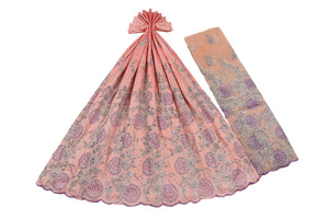 Hand Stoned George Wrapper Design # 6712 - Peach - With Blouse