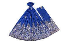 Load image into Gallery viewer, Hand Stoned George Wrapper Design # 6633 - Royal Blue - With Blouse