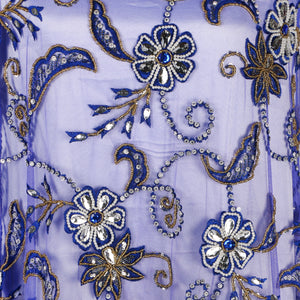 Hand Embroidered Fabric Design # 4094 - Royal Blue - 5 Yard Piece