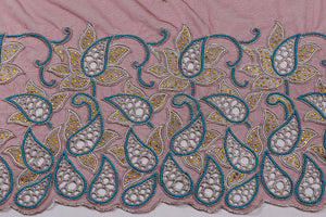Hand Embroidered Blouse Design # 3264 - Wine - 1.7 Yards