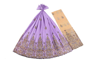 Hand Stoned George Wrapper Design # 6670 - Lilac - With Blouse