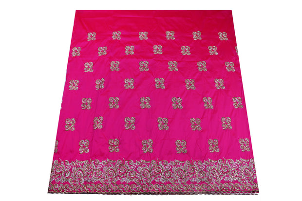 Hand Stoned George Wrapper Design # 6647 - Fuchsia Pink - With Blouse