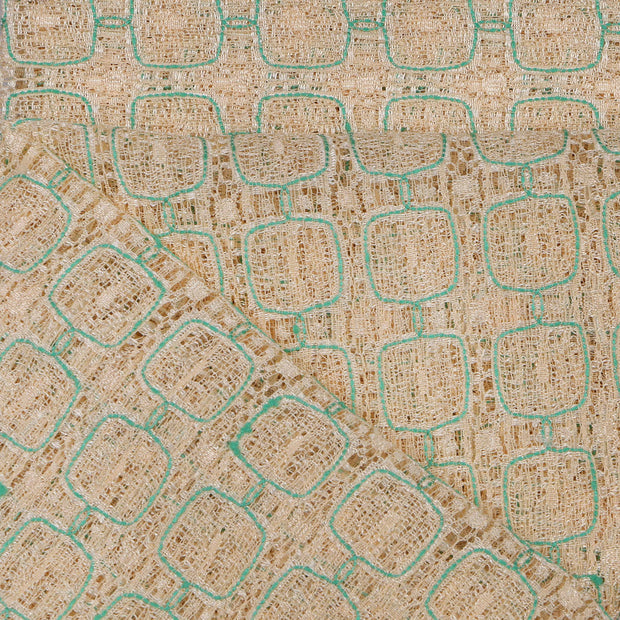 Supreme Lace Design # 3004 - Beige With Aqua Green  - 5 Yard Piece