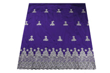 Load image into Gallery viewer, Machine Embroidered George Wrapper Design # 7410 - Purple - With Blouse