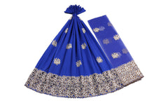 Load image into Gallery viewer, Machine Embroidered George Wrapper Design # 7423 - Royal Blue - With Blouse