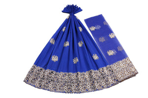 Machine Embroidered George Wrapper Design # 7423 - Royal Blue - With Blouse