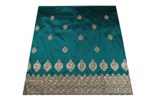 Load image into Gallery viewer, Machine Embroidered George Wrapper Design # 7460 - Teal Green - 1.75 Yards