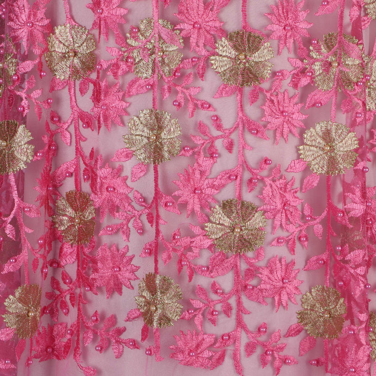 Machine Embroidered Fabric Design # 4029- Baby Pink- With Pearls - 5 Yard Piece