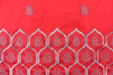 Load image into Gallery viewer, Machine Embroidered George Wrapper Design # 7064 - Red - Without Blouse