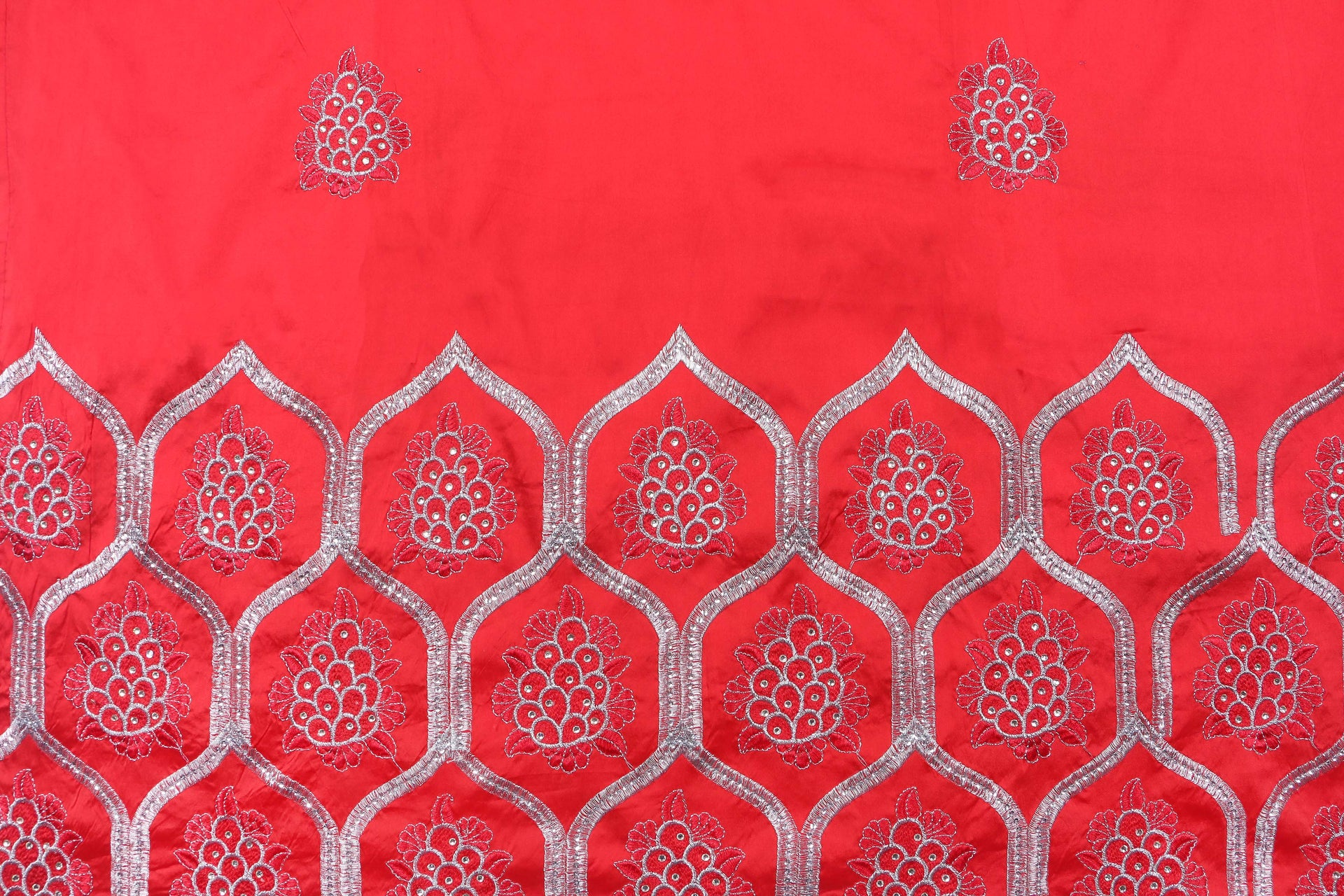 Machine Embroidered George Wrapper Design # 7064 - Red - Without Blouse