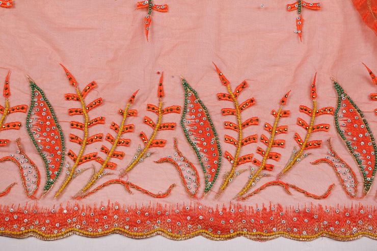 Hand Embroidered Blouse Design # 3312 - Burnt Orange - 1.7 Yards