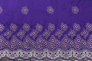 Machine Embroidered George Wrapper Design # 7402 - Purple - With Blouse