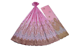 Machine Embroidered George Wrapper Design # 7400 - Baby Pink - With Blouse