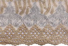 Load image into Gallery viewer, Machine Embroidered George Wrapper Design # 7400 - Beige - With Blouse