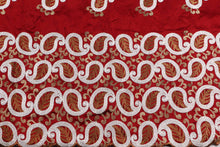 Load image into Gallery viewer, Machine Embroidered George  Wrapper Design # 7433 - Maroon - With Blouse