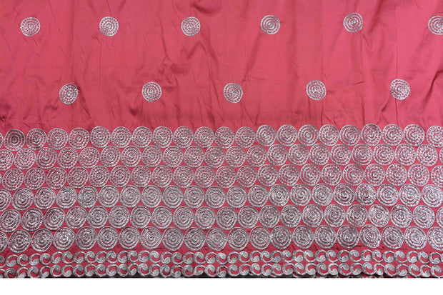Machine Embroidered George Wrapper Design # 7065 - Coral - Without Blouse