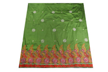 Load image into Gallery viewer, Machine Embroidered George Wrapper Design # 7079 - Olive Green - Without Blouse