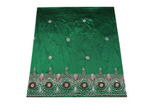 Load image into Gallery viewer, Hand Embroidered George Wrapper Design # 9695 - Pure Green - With Contrast Blouse