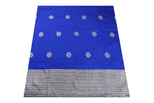 Load image into Gallery viewer, Machine Embroidered George Wrapper Design # 7394 - Royal Blue - With Blouse