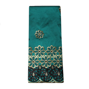 Machine Embroidered Single George Wrapper Design # 5002 - Teal Green