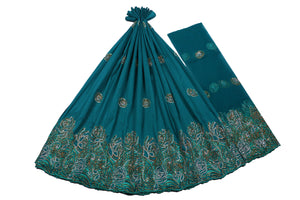 Hand Stoned George Wrapper Design # 6588 - Teal Green - With Blouse