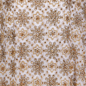 Hand Embroidered Fabric Design # 4181 - Pure White - 5 Yard Piece