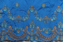 Load image into Gallery viewer, Machine Embroidered George Wrapper Design # 7436 - Turquoise Blue - With Blouse