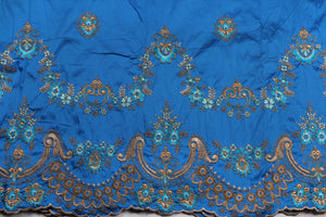 Machine Embroidered George Wrapper Design # 7436 - Turquoise Blue - With Blouse