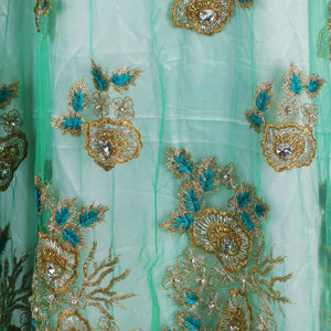 Hand Embroidered Fabric Design # 4057 - Aqua Green - Per Yard