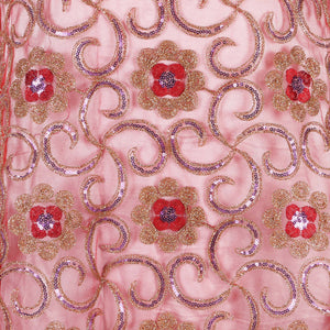 Machine Embroidered Fabric Design # 4134 - Red - 5 Yard Piece