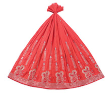 Load image into Gallery viewer, Machine Embroidered George Wrapper Design # 7093 - Red - Without Blouse