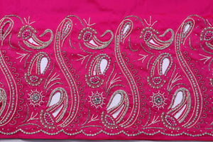 Hand Embroidered George Wrapper Design # 9415 - Fuchsia Pink - With Blouse