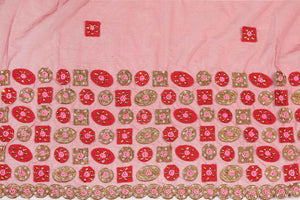 Hand Embroidered Blouse Design # 3292 - Red - 1.7 Yards