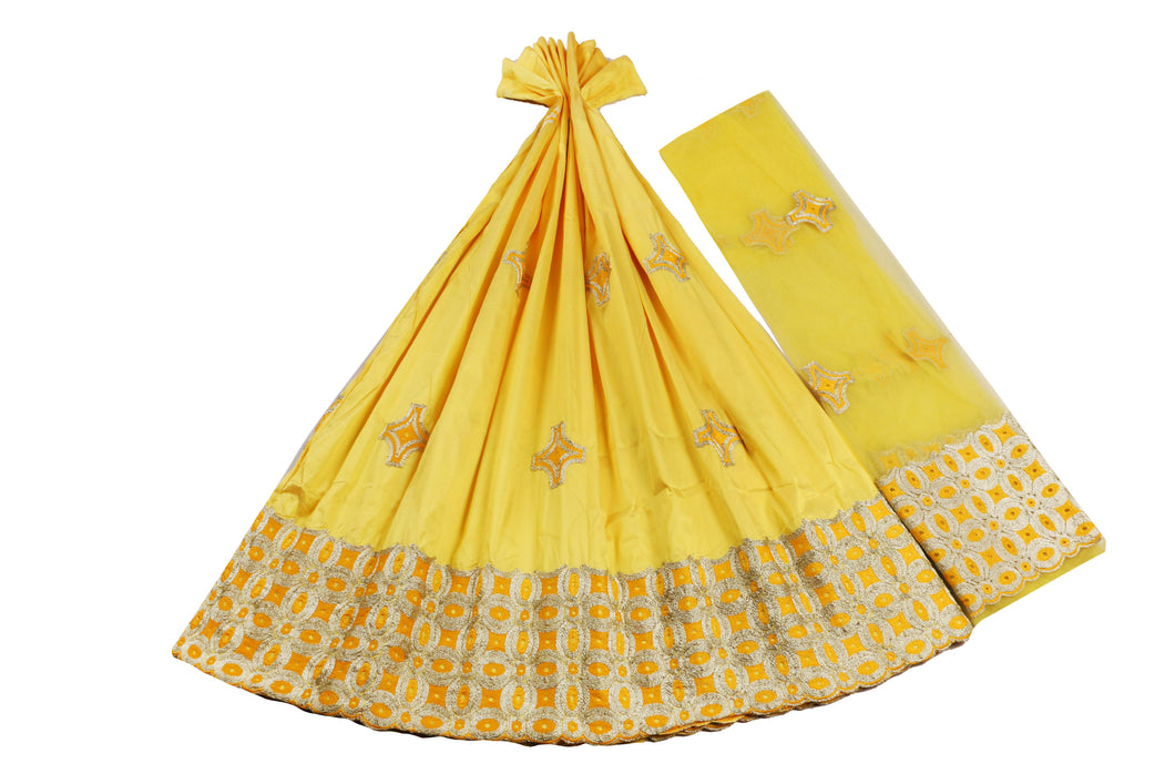 Machine Embroidered George Wrapper Design # 7443 - Yellow - With Blouse