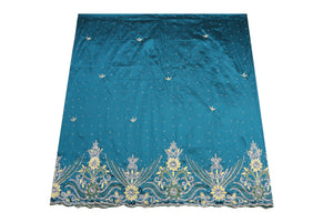 Hand Embroidered George Wrapper Design # 9708 - Teal Blue - With Blouse