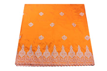 Load image into Gallery viewer, Machine Embroidered George Wrapper Design # 7398 - Saffron - With Blouse
