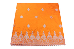 Machine Embroidered George Wrapper Design # 7398 - Saffron - With Blouse