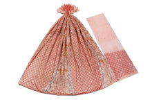 Load image into Gallery viewer, Hand Embroidered George Wrapper Design # 9739 - Peach - With Blouse