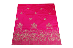 Machine Embroidered George Wrapper Design # 7397 - Fuchsia Pink - With Blouse